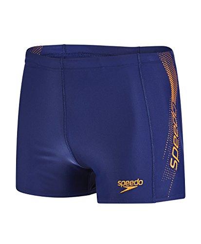 Speedo Herren Sports Logo Aquashorts Swimwear, Navy/Sunset Orange, 2