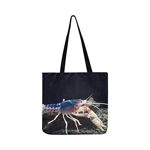 Eine niedliche kleine Regenbogen Krabben Leinwand Tote Handtasche Schultertasche Crossbody Taschen Geldbörsen für Männer und Frauen Einkaufstasche