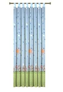 Rideau pour chambre de bébé/rideau/voilage à passants lapin vert 140 x 245 cm (bleu)