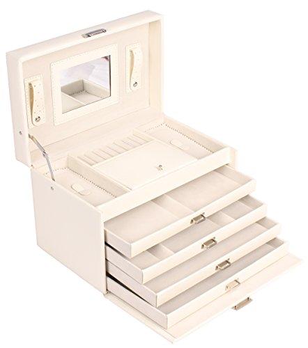 Schmuckkästchen Schmuckschatulle Schmuckkasten Schmuckbox Schmuckkoffer Schmuck 4 Fächer Lederoptik weiß