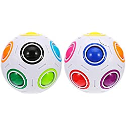 2 Piezas de Bola Mágica de Arco Iris Cubo de Puzzle 3D Juguetes de Rompecabezas para Niños Adultos
