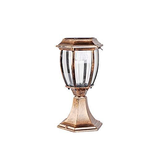 LED-Solarlampe für Außenbereich Zeitgenössische Kollektion Außenbereich Außenpfosten Laterne Säulenleuchten Dekoration Terrassenziegel Säulen Gartendeck Terrassenbeleuchtung (Color : Bronze-H-31cm) -