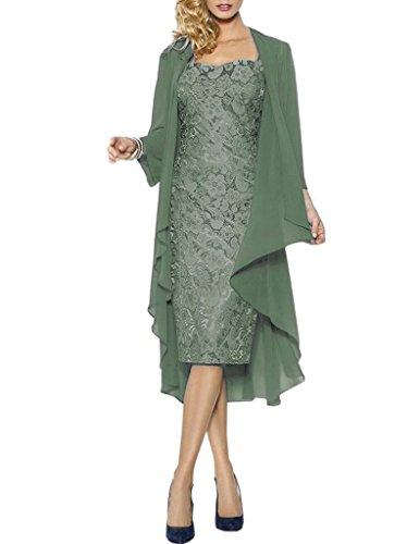 HWAN Spitze Mutter der Braut Kleider Kurze formale Kleider mit Chiffon Jacke Wraps Pastellgr¨¹n (Chiffon Alex Abende)