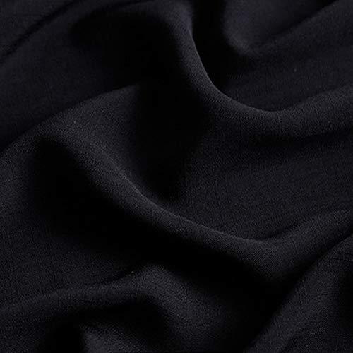 FADDR Baumwollleinengewebe - glatte weiche Textur - 160 cm breit pro Meter für DIY Sommerkleidung, Kleid, Bettwäsche, Bastelpatchwork usw.(Schwarz) -