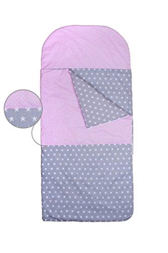 KempKids. Set di Sacco a Pelo + Cuscino per Bambini in età Prescolare Stuoia del Nap Sacchetto di Sonno Taglie: Sacco a Pelo 115 x 70cm Guanciale 35 x 70 cm Pois Rosa