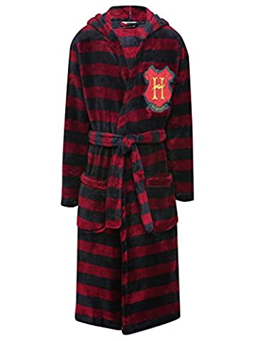 M&Co Harry Potter Boys Long Sleeve Hooded Tie Waist Hogwarts Badge Pocket Front Striped Hooded Robe Multicolour 11/12