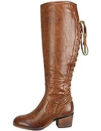 Botas Martin altura extra elegante mujer,Sonnena ❤️ Zapatos de cuero de moda de mujer Botas de tacón alto con cordones para el invierno Botas altas de rodilla sexy
