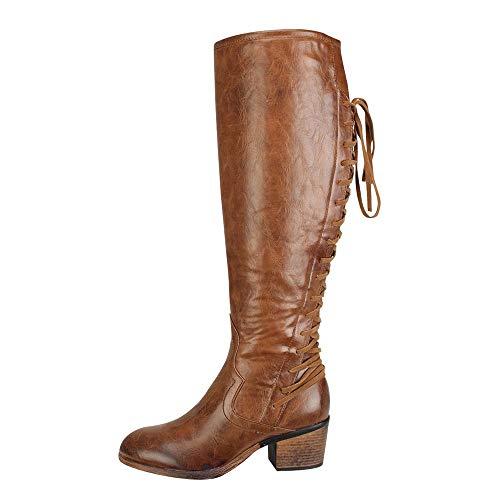 serliy Damenmode Leder High Heels Stiefel Winter Sexy Knie Stiefel Low Heel Flock Schuhe Ferse Sportschuhe Stiefeletten Winterschuhe Markenschuhe Bequeme Freizeitschuhe Pumps Schicke schnürschuhe