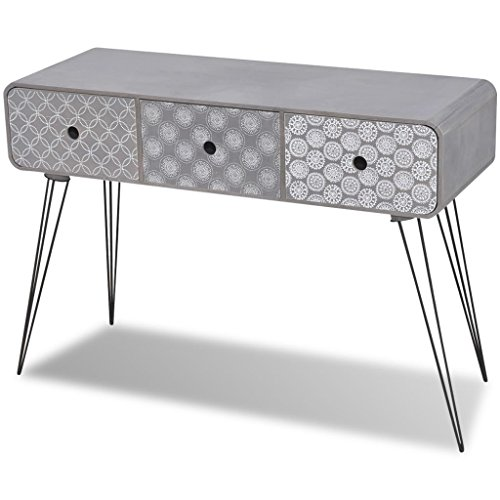 Vidaxl armadietto laterale 3 cassetti grigio cassettiera madia tavolo consolle