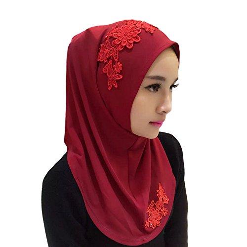 Meijunter Muslim Femmes Couvercle de tête Dentelle Broderie fleur Écharpe Islamic Doux Châle Hijab Wine Red