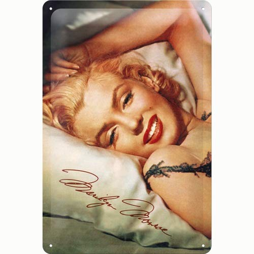 Nostalgic-Art 22107 Celebrities - Marilyn - Bed, Blechschild 20 x 30 cm -