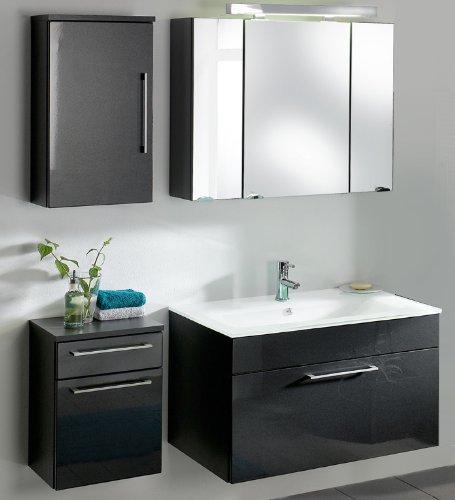 #Badezimmer Set Hochglanz anthrazit Badmöbel Waschtisch Waschplatz Spiegelschrank#