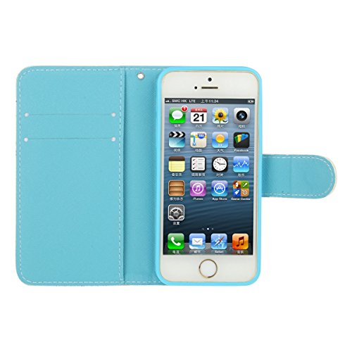 iPhone 5S Coque, iPhone SE Coque, Lifeturt [ Chien ] Leather Case Wallet Flip Protective Cover Protector, Etui de Protection PU Cuir Portefeuille Coque Housse Case Cover Coquille Couverture avec Fonct E02-Fleur bleue