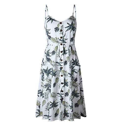 FYERM Sommer-Frauen-Knopf verzierte Druck-Kleid-Schulterfreie Partei-Strand-Sommerkleid-Lange Kleider