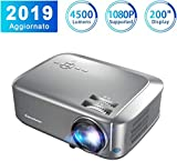 Proiettore Excelvan Videoproiettore 4500 Lumen 1080P/USB/VGA/SD/HDMI Risoluzione Nativa HD 1280*768P LCD Full HD 200'' Display Contrasto 1000:1 per Casa Viaggio Compatibile con PS4 TV Box Cellulare PC