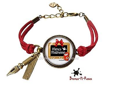 Bracelet * Merci maîtresse * bijou cadeau pour sa maitresse cabochon école