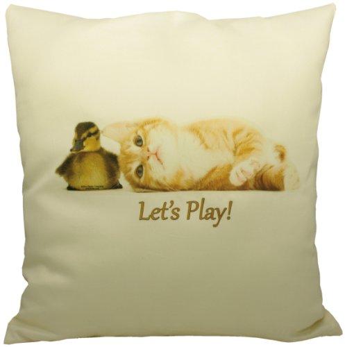Let's play - Knuddeliges Designer Kissen mit Katzen-Motiv 40x40 cm Katzenkissen Dekokissen Zierkissen mit verdecktem Reißverschluss und Füllkissen (Reißverschluss Anbieter)