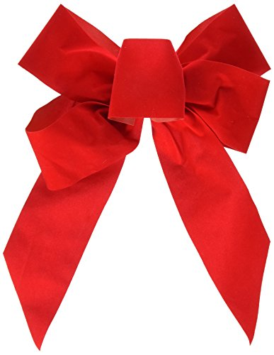 Artikelbild: HOLIDAY TRIM - Christmas Bow, 5-Loop, Red Velvet, 10 x 13 x 3-In.