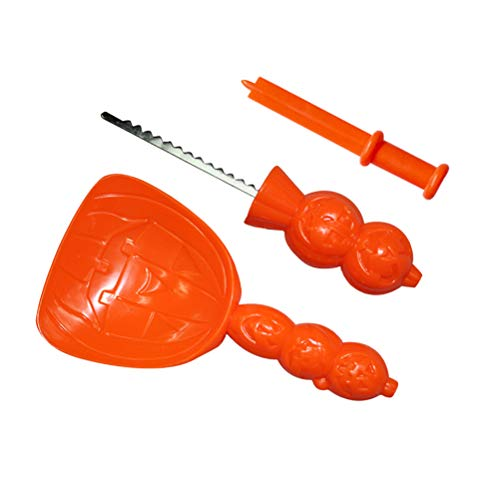 BESTOYARD 3 stücke Halloween kürbis Carving Tools kit für Kinder Erwachsene leicht schnitzen Halloween Party Craft Tool (orange)