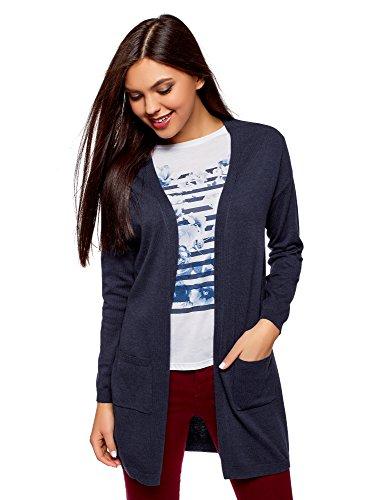 oodji Ultra Damen Langer Cardigan mit Seitentaschen, Blau, DE 36 / EU 38 / S
