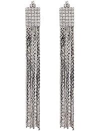 Boucles d'oreilles clips - plaqué argent avec des cristaux clairs et brins liés - Bridie S par Bello London