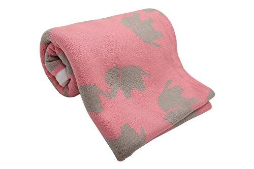 MoMika Erstlingsdecke Kuscheldecke Babydecke Strickdecke 100% Baumwolle 100x80 cm (Pink-elephant)