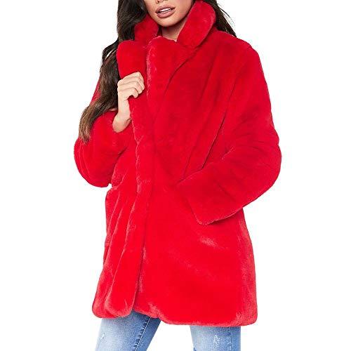 Auroru Damen Winter Mantel, Faux Pelzmantel, Lange Faux Pelz-Mantel der beiläufigen modernen Frauen lose Flusen-Spitze Sweatshirts mehrfarbiger Chic Outwear Freizeitjacke
