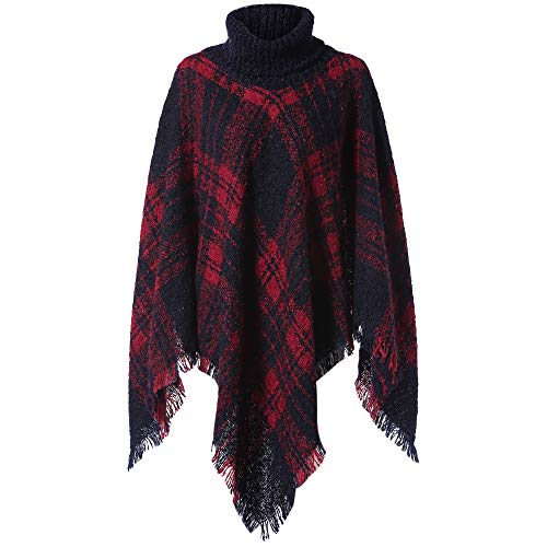 PASSOSIE Aymetric Pullover Rollkragen Pullover Mode Micro-Bombe Pullover Vintage Gestrickte Winter Herbst Plaid Gedruckt Langarm Rot Multicolor