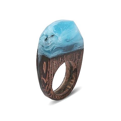 AnaZoz Bague à Résine en Bois Anneau Micro Paysage 'Forêt de Mer Profonde' Bleu Silencieux Paysage Sous-Marin Mystérieux - Le petit monde fantastique entre les doigts