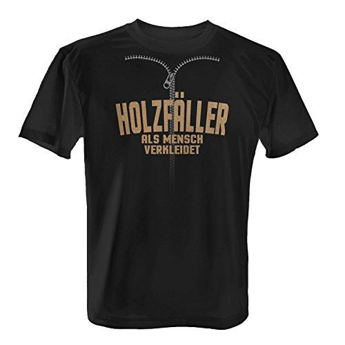 T-Shirt - Holzfäller Als Mensch Verkleidet | Fun Shirt mit Spruch | Verkleidung Kostüm Karneval Fasching Halloween, Farbe:Schwarz;Größe:XXL (Holzfäller-halloween-kostüm)