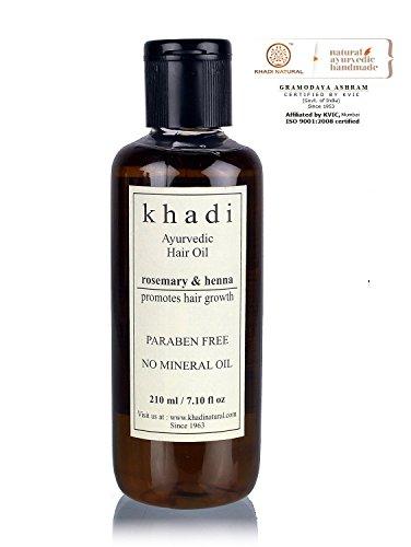 Khadi natur Ayurvedische Rosmarin & Henna Haar Wachstum Öl (SLS & Paraben frei) 210ml - Bhringraj Haaröl
