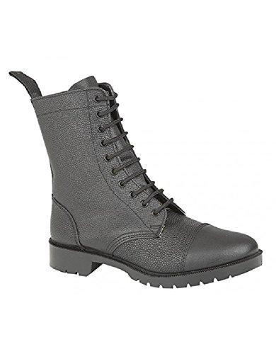 Grafters-Stile Militare da uomo in pelle stivali Black Grain Leather