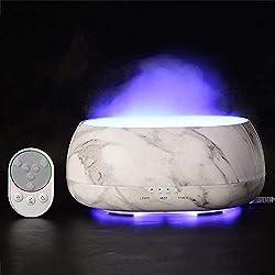 FONGFONG 500ml Diffuseur d'Huile Essentiel avec Lumières de LED à 7 Couleurs Changeables Diffuseur de Parfum Electrique Télécommande Intelligente Humidificateur d'air Ultrasonique Silencieux Blanc