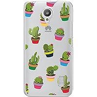 Funda carcasa TPU Transparente para Huawei Y635 diseño estampado cactus macetas