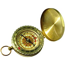 Pocket Traditional Design Brass Metal Pocket Watch Classic Compass Camping Luminous
