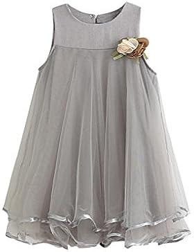 Koly La gasa de la muchacha de los cabritos viste el vestido + la broche sin mangas de Drape (140, Rosado)