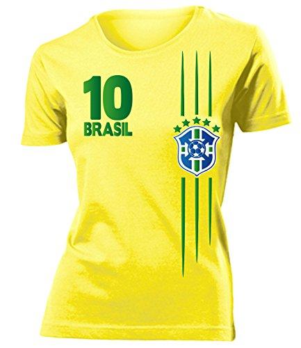 Brasilien 3368 Fussball Fanshirt Damen Fun-T-Shirts Gelb M
