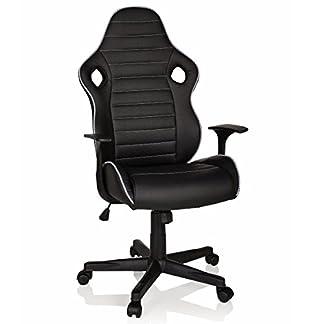 HJH Office 621940 silla gaming GT RACER II piel sintética negro/blanco silla de oficina moderna