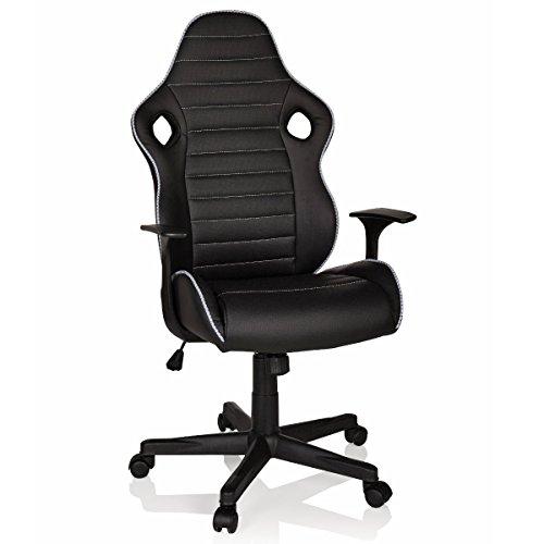 hjh OFFICE 621940 Gaming Stuhl GT Racer II Kunstleder Schwarz Sportsitz Bürostuhl mit Armlehnen