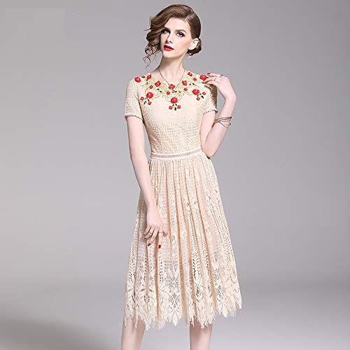 QUNLIANYI Ballkleid Lang Damen Tüll Elegante 3D Blume Perlen Bestickt Kleid Damen Kurzarm Rot Floral Spitze Party Vintage Kleid L -