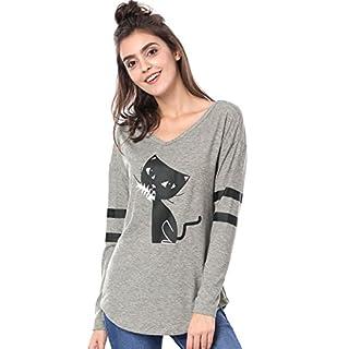 Allegra K Women V Neck Drop Shoulder Striped Cat Print Tunic Top L Grey