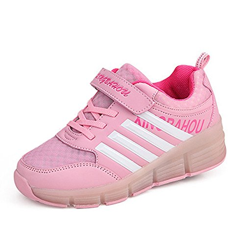 Meurry Super Light Garçon Fille Enfants Roller Chaussures Skates LED Luminous Roue Trainers Skateboard Sneaker Single Round Sports Chaussures Rose