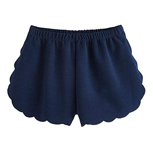 WOZOW Damen Hosen Shorts Kurze Hosen Übergröße Solid Wave Line Mini High Waist Elastic Loose Long A Line Casual Mode Sommer Trousers (2XL,Marine)