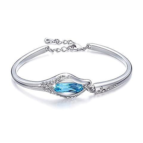 Bracelet,Crystal Bangles Swarovski CDE Bracelets Jewelry Women's Bule crystal Bangles Swarovski Bracelet gifts for Women Girlfriend Mother