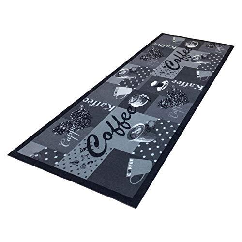HOMEFACTO:RI Küchenläufer Küchenteppich Teppichläufer Läufer Kaffee Cafe Coffee | waschbar, Größe:ca. 60 x 180 cm, Designs:Kaffee | schwarz weiß