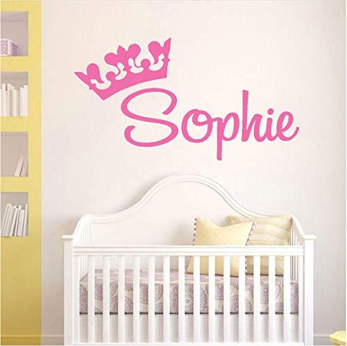 Wuyyii 57X31 Cm Personalisierte Name Aufkleber Prinzessin Crown Benutzerdefinierte Name Grafik, Mädchen Kinderzimmer Wandtattoo, Zimmer Vinyl Aufkleber ()