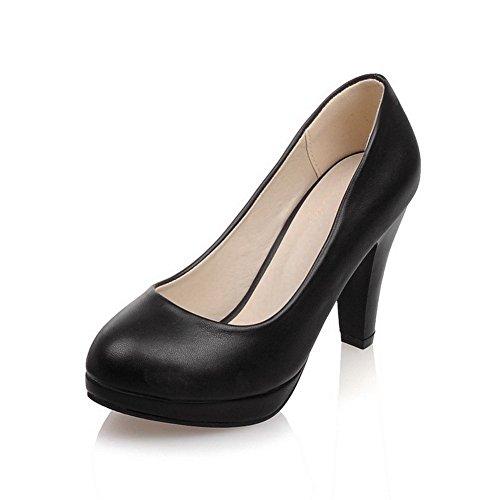 VogueZone009 Femme Pu Cuir Couleur Unie Tire Rond à Talon Haut Chaussures Légeres Noir