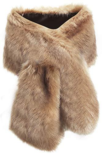 ArtiDeco Damen Kunst Pelz Schal Flauschig Faux Pelz Umschlagtuch Kragen für Wintermantel 1920er Jahre Flapper Accessoires Outfit Warm Zubehör 120 cm lang (Kaffee Breit)