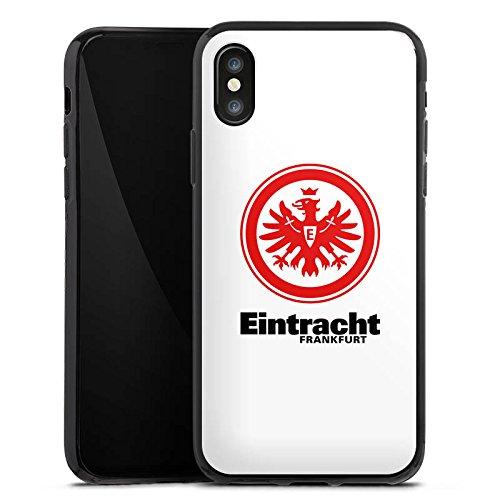 Apple iPhone SE Tasche Hülle Flip Case Eintracht Frankfurt Fanartikel Fußball Silikon Case schwarz