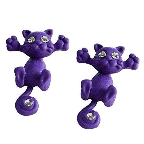 URSING Damen-Ohrstecker Einzelne Ohrringe Kreatives Tier Cartoon Kätzchen Süße Katze Ohrringe Holzschmuck Ohrschmuck Modeschmuck Ohr-Schmuck für Damen und Mädchen im Geschenk (Lila#)